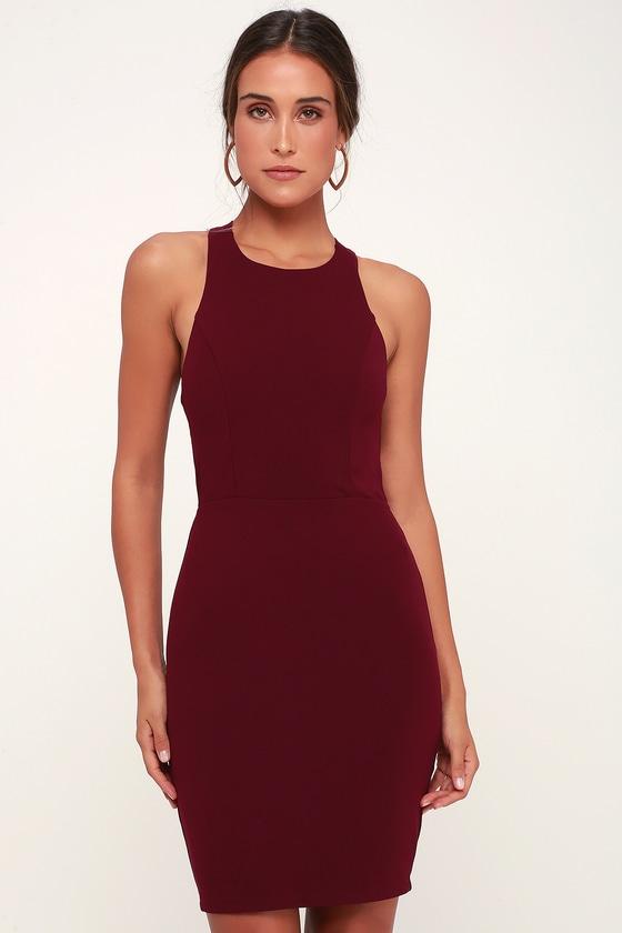 aa986102bb Sexy Burgundy Dress - Bodycon Dress - Strappy Dress - Bodycon