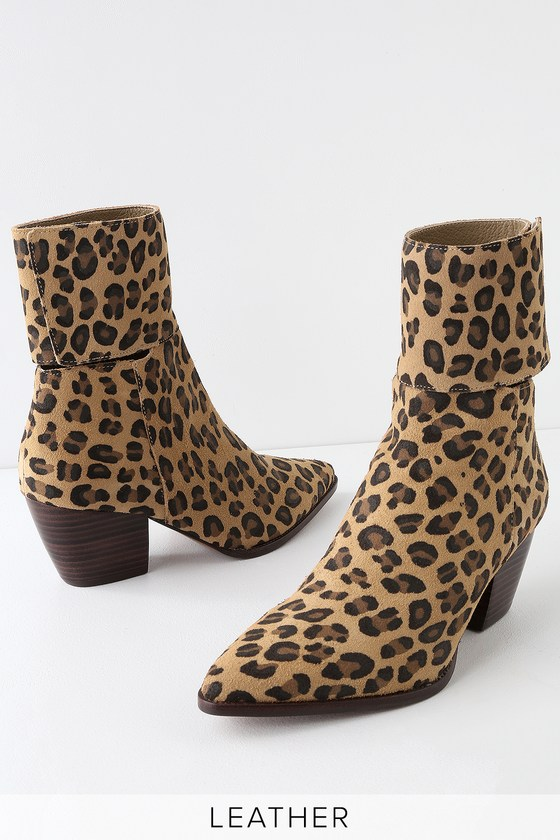 dc77ca48a43b Matisse Good Company - Leopard Suede Leather Mid-calf Booties