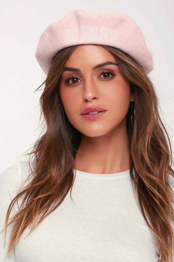 8bd899298520e Obey Betsy - Mauve Pink Beret - Embroidered Beret - Wool Beret