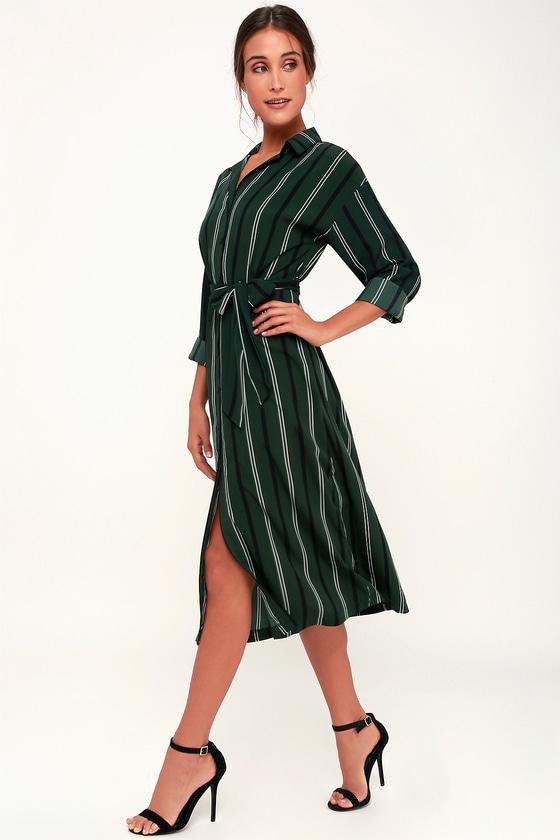 49df94a254 Chic Dark Green Striped Dress - Midi Dress - Green Shirt Dress