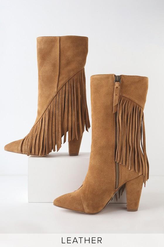 3b90f47cc4 Splendid Camron Brandy - High Heel Boots - Suede Fringe Boots