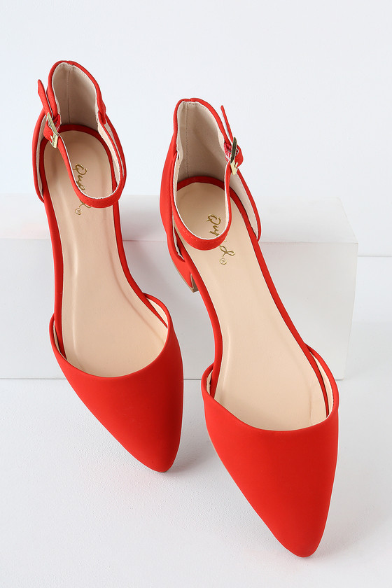 702008a06f Cute Red Heels - Nubuck Ankle Strap Pumps - Block Heel Pumps