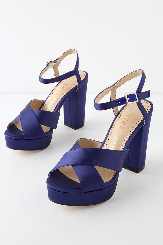 b097051ef4f Allegra James Daisy - Navy Satin Heels - Platform Heels