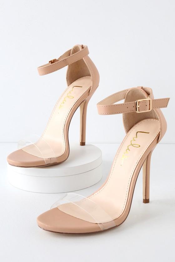 3e3bd7e09195 Cute Nude Heels - Ankle Strap Heels - Clear Strap Heels