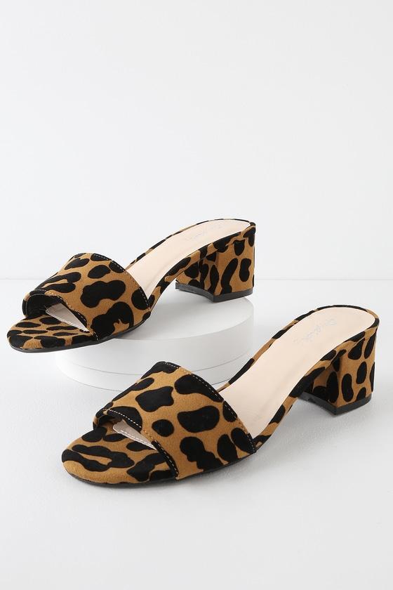 01ce9d438 Chic Camel and Black Leopard Mules - Leopard Print Suede Mules