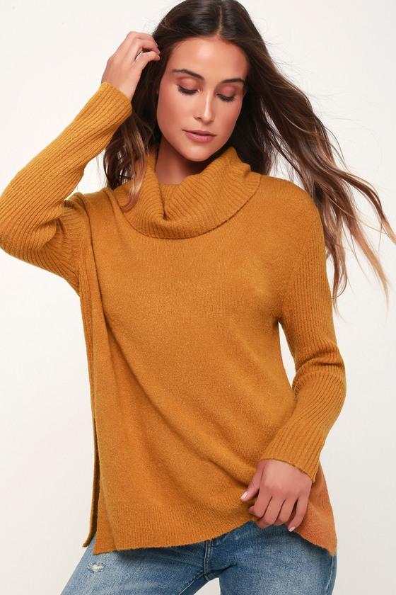 43f4956c9a Olive + Oak Brant - Dark Mustard Sweater - Cowl Neck Sweater