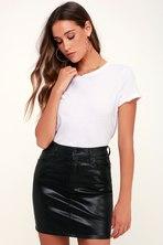 483518c5d48c Gentle Fawn Maze Skirt - Black Skirt - Vegan Leather Skirt - Mini ...