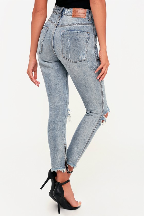9b37e56e925 One X One Teaspoon High Waist Freebird - Light Wash Skinny Jeans