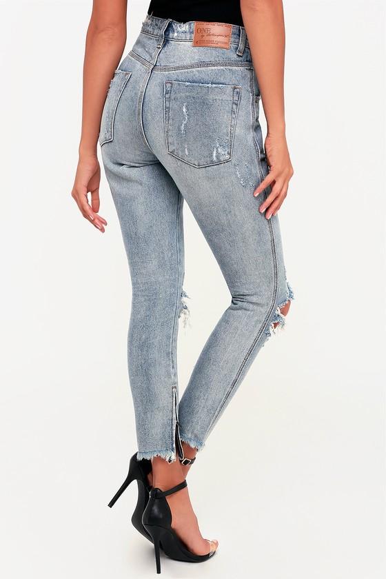 c854e8f3c31 One X One Teaspoon High Waist Freebird - Light Wash Skinny Jeans