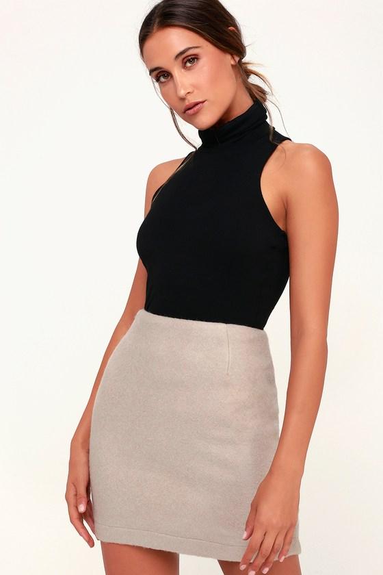 a18224c70503 Cozy Beige Skirt - Beige Mini Skirt - Fuzzy Skirt - Knit Mini
