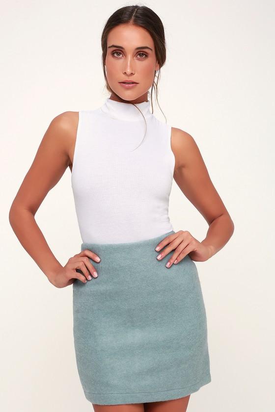 8d85c4a21c33 Cozy Light Blue Skirt - Blue Mini Skirt - Fuzzy Skirt - Knit Mini