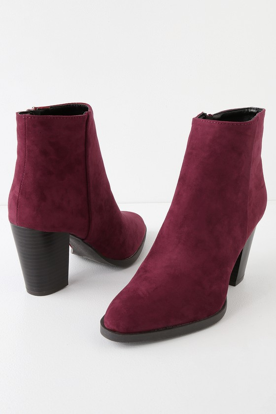 offer various styles later Annelise Burgundy Suede Ankle Booties