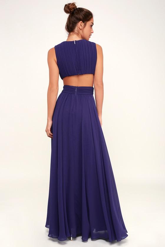 222a530da4a257 Lovely Royal Blue Dress - Cutout Maxi Dress - Maxi Dress