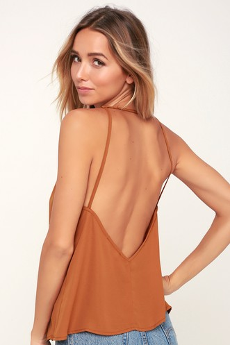 bc9060ff5dd6f Cool Moves Light Brown Backless Tank Top. Quick View