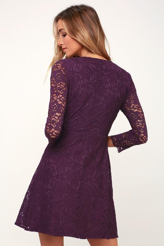 97b32fbfd23a Cute Purple Dress - Lace Dress - A-Line Dress - Mini Dress
