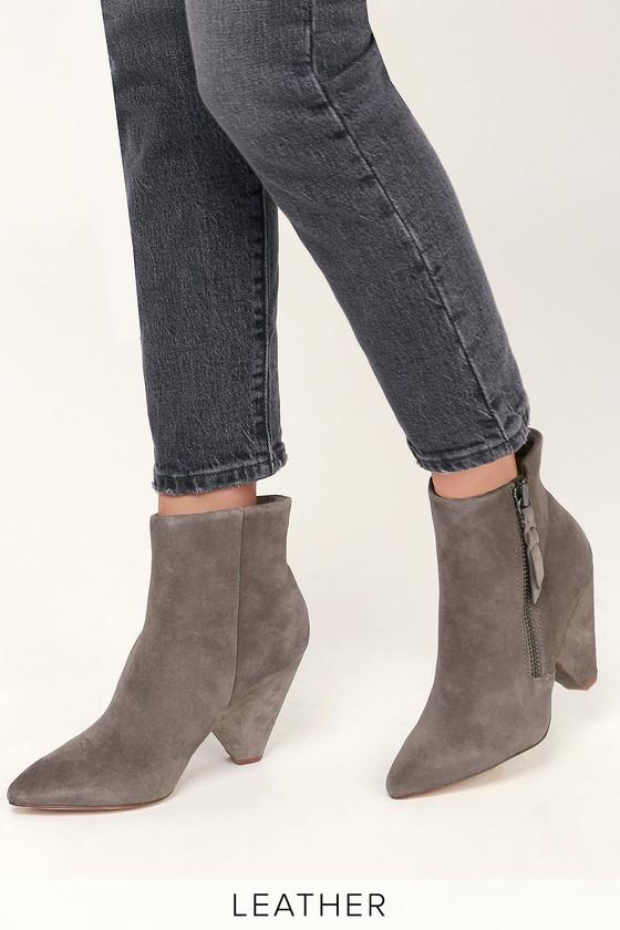 7c893c33238 Splendid Neva - Charcoal Ankle Booties - Genuine Suede Booties