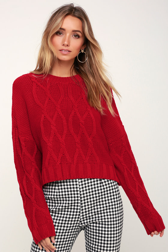 253356c411 Cute Red Sweater - Sweater - Cable Knit Sweater - Cozy Sweater