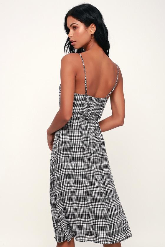 c211619bf5c Cute Houndstooth Dress - Black and White Print Dress - Midi Dress