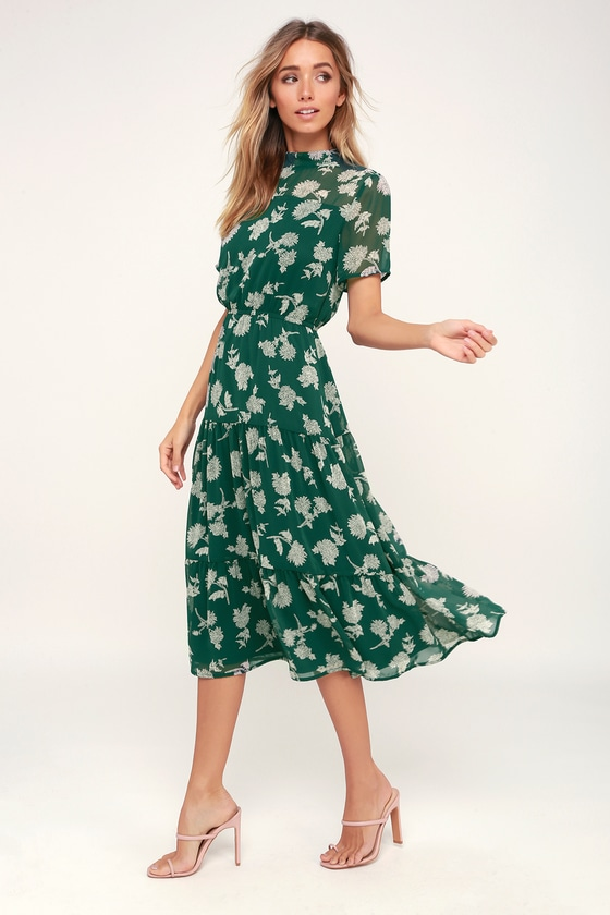 c94642721fc Dark Green Floral Print Dress - Midi Dress - Short Sleeve Dress