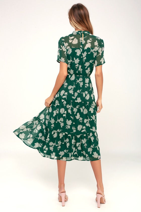 3946c5b7a7 Dark Green Floral Print Dress - Midi Dress - Short Sleeve Dress