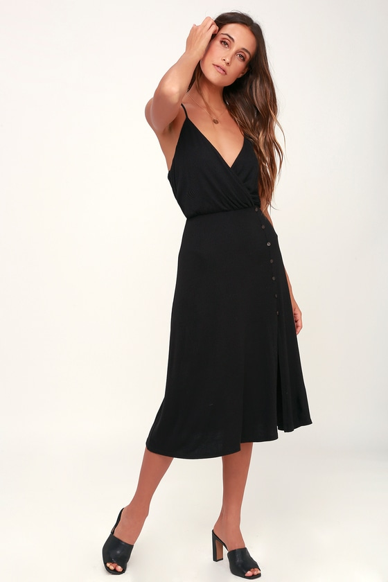 34816e407f0 LUSH x Lulus Dress - Black Midi Dress - Ribbed Knit Dress