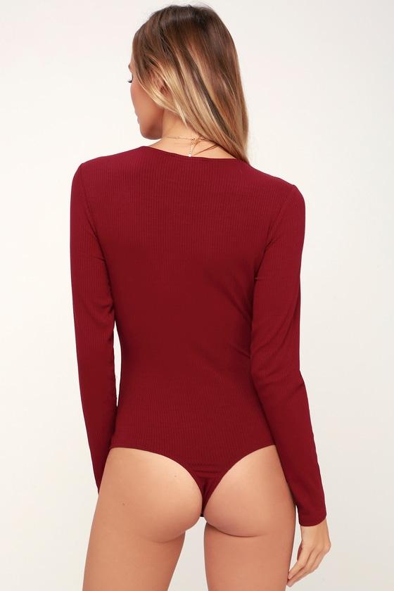 6ef56c4e1d Sexy Wine Red Bodysuit - Lace Bodysuit - Long Sleeve Bodysuit