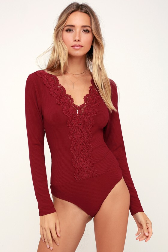 83c08bb0fafda2 Sexy Wine Red Bodysuit - Lace Bodysuit - Long Sleeve Bodysuit