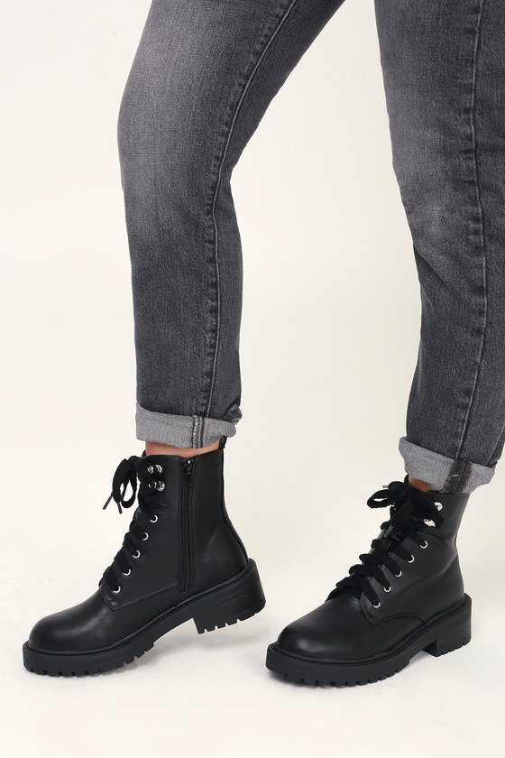 21fb4bde37a4 Madden Girl Alicee - Black Boots - Lace-Up Boots - Combat Boots