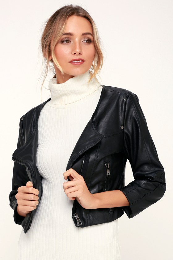 Williams Black Vegan Leather Cropped Moto Jacket by Lulus