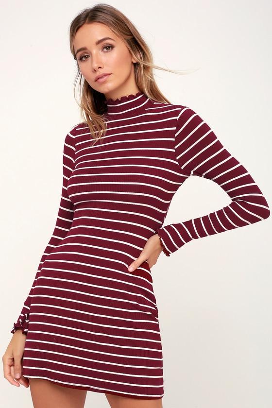 da88a798e04b Cute Burgundy Dress - Mock Neck Dress - Lettuce Edge Dress