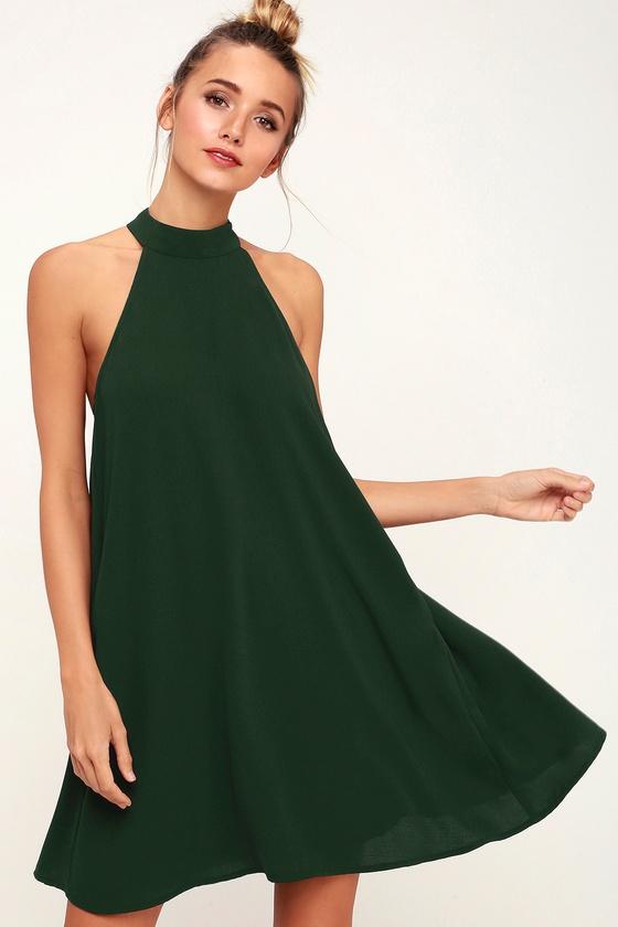 3d1287d77aef Forest Green Dress - Halter Swing Dress - Sleeveless Dress