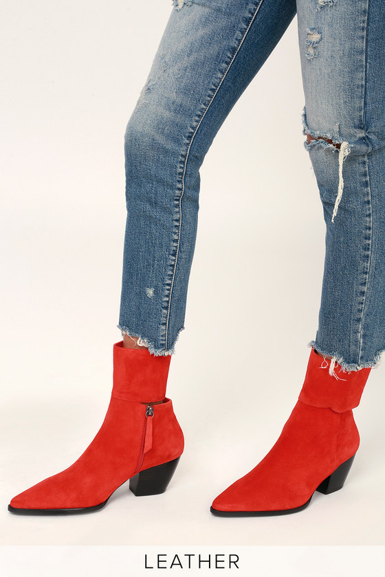 0df9e3802d66 Matisse Good Company - Red Suede Leather Mid-calf Booties - Boots