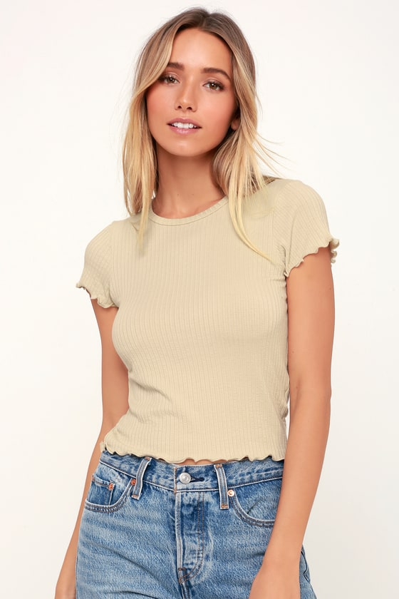 1f4a82d557b5 Cute Crop Top - Light Beige Top - Lettuce Edge Top - Basic Top