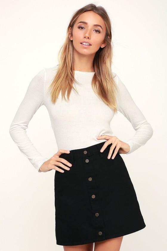 4b905d6f043d Obey Gatecrasher - Black Denim Mini Skirt - Button-Up Mini Skirt