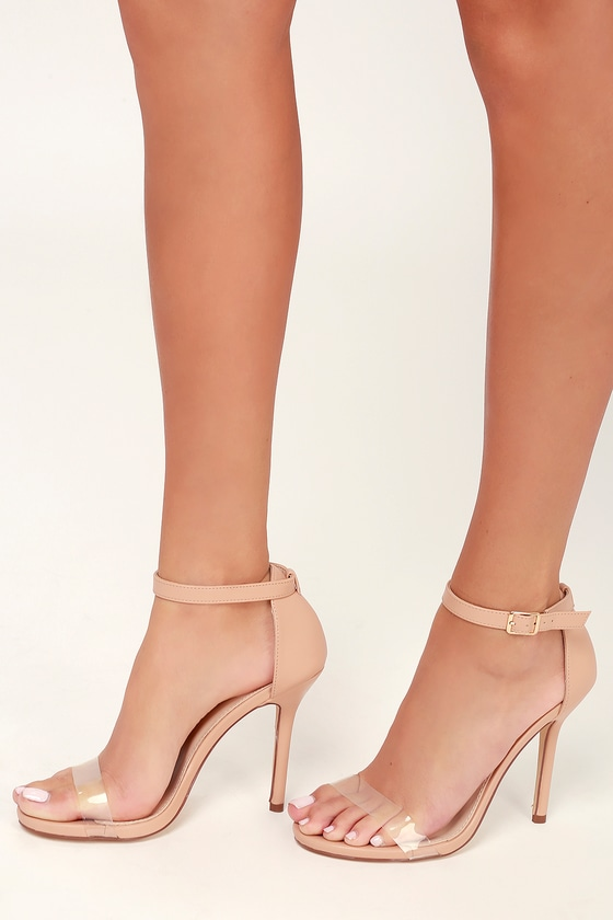 fc622f1f90a17 Elsi PVC Nude Ankle Strap Heels