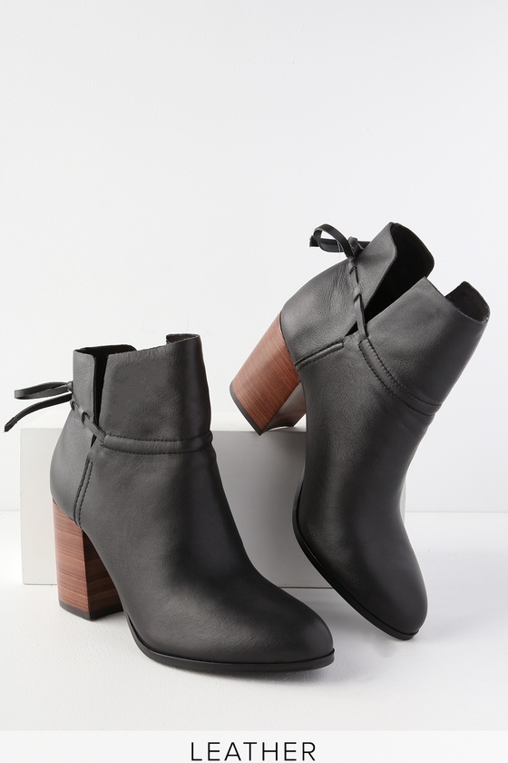 12c0bf0b198 Kelsi Dagger Welsey - Black Ankle Booties - Leather Booties