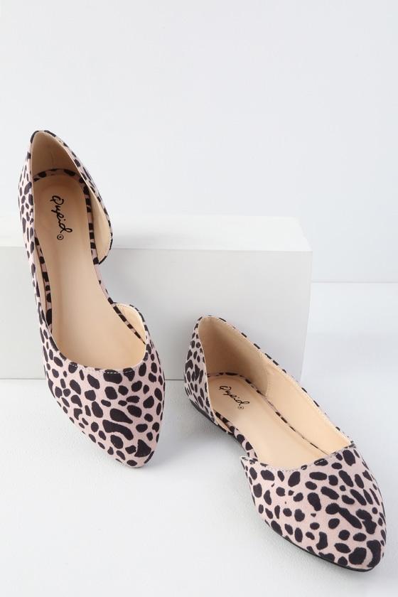 48a92133736a Cute Leopard Print Flats - Suede Flats - D Orsay Flats