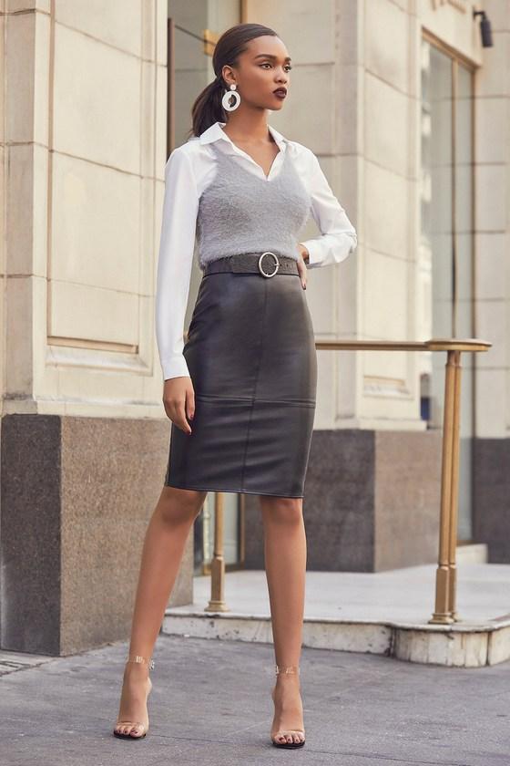 ee0289faeb9b Cute Vegan Leather Skirt - Black Midi Skirt - Pleather Midi Skirt
