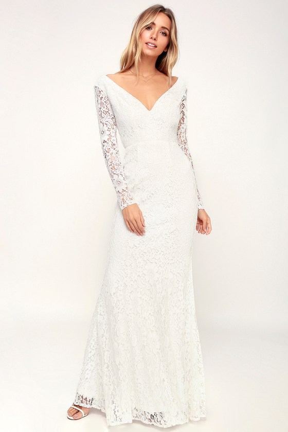 White Long Dresses with Sleeves