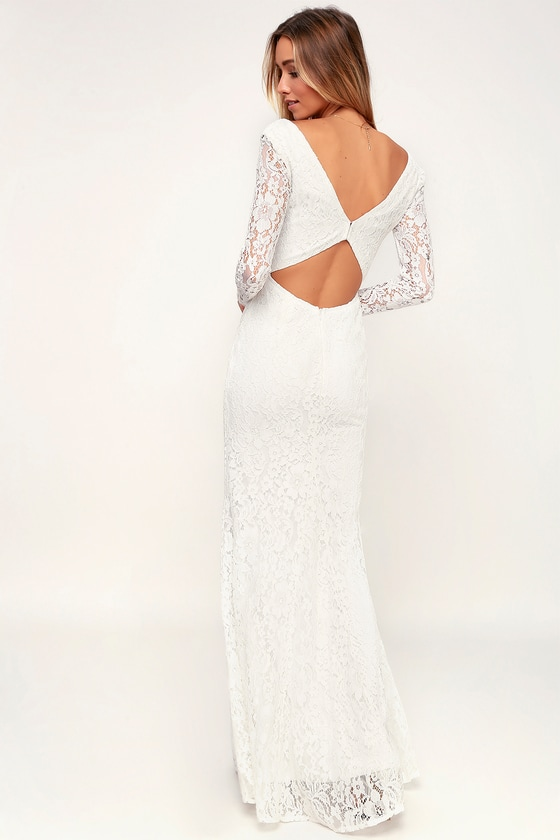 White Long Sleve Maxi Dress