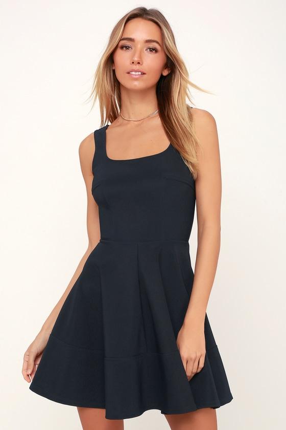 b619a397512 Pretty Navy Blue Dress - Skater Dress - Sleeveless Skater Dress