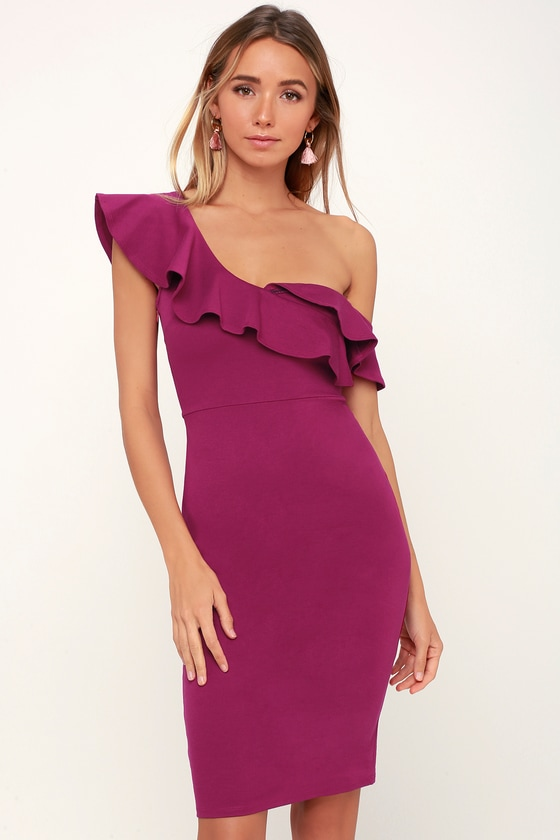 Make It Count Magenta Ruffled One-Shoulder Bodycon Dress