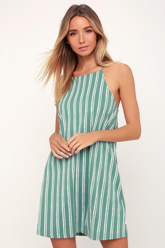 4590b8c06d52 RVCA Exit Dress - Mint Green Striped Dress - Lace-Up Back Dress