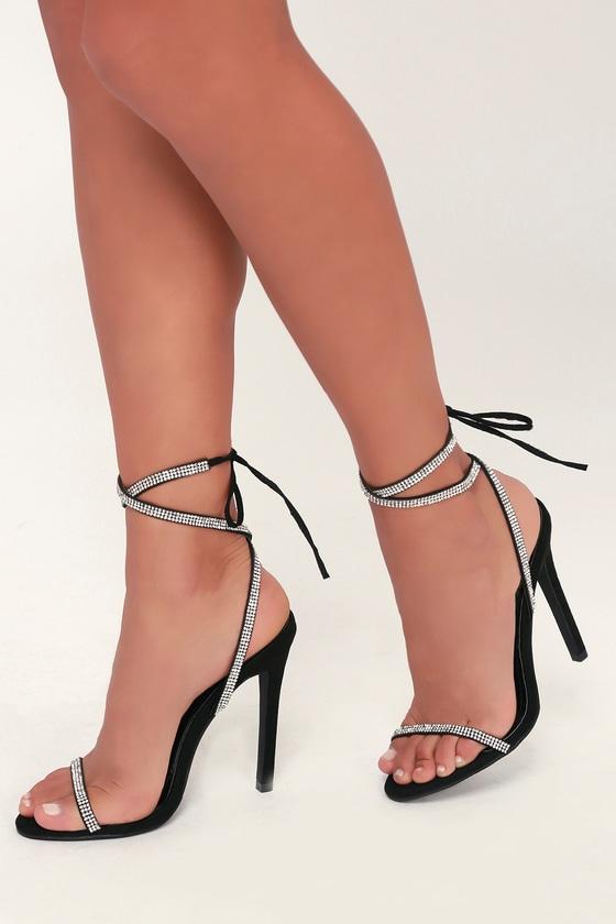 Gwyneth Black Suede Rhinestone Lace-Up Heels - Lulus