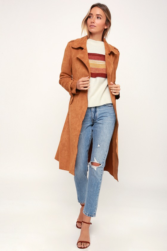 wholesale distinctive style size 40 Morning Chill Light Brown Suede Trench Coat
