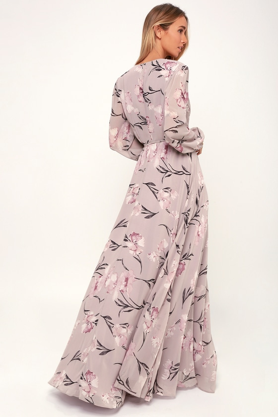 e2c0664042 Loving You Dusty Purple Floral Print Long Sleeve Wrap Maxi Dress