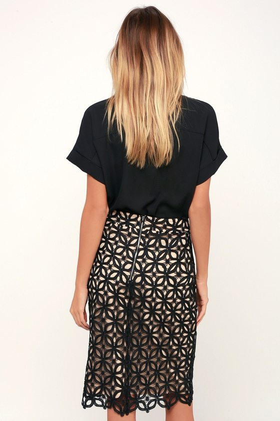 915fcef0e Chic Pencil Skirt - Lace Midi Skirt - Black and Nude Skirt