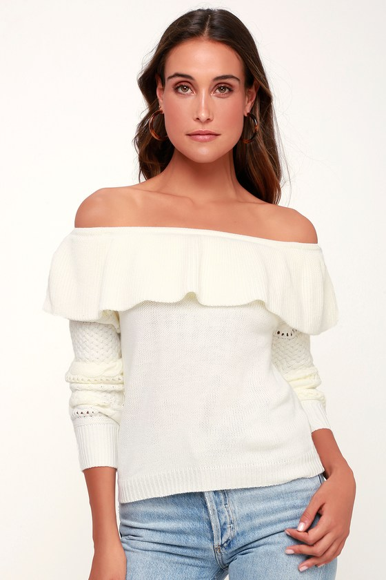 Cute Ivory Sweater Off The Shoulder Sweater Flounce Sweater