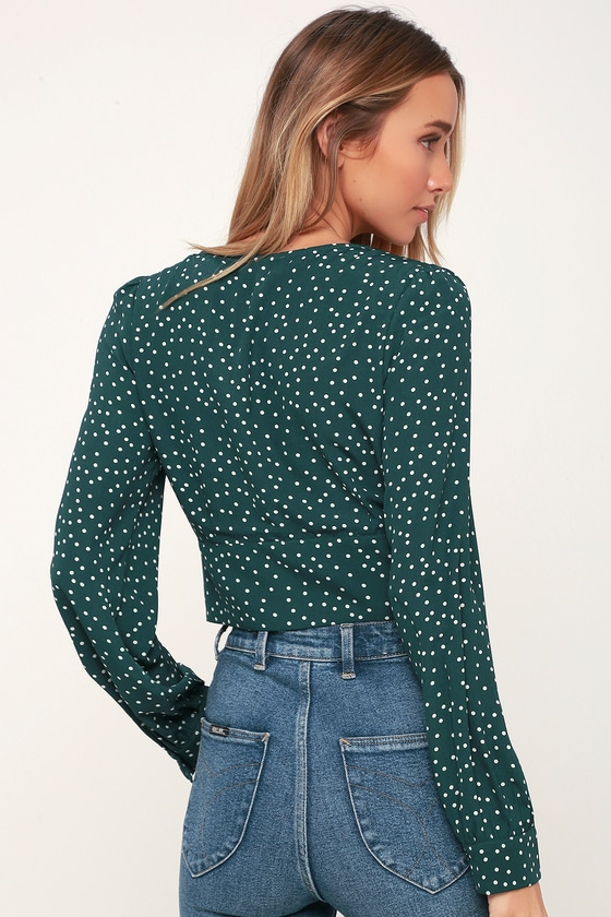 d073882df3731 Chic Green Polka Dot Top - Long Sleeve Top - Polka Dot Blouse