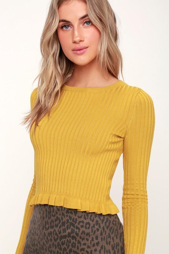 8d2c87ace7 Cute Yellow Sweater Top - Ruffle Sweater - Cropped Sweater Top